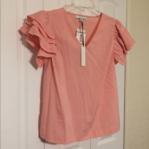 Tops - Blouse, ruffle and lace cap sleeves, pink